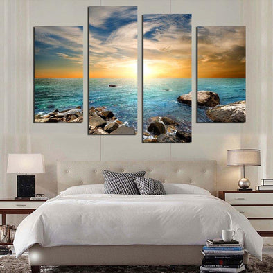 Rocky Ocean Sunset - 4 Panel Canvas Art Set