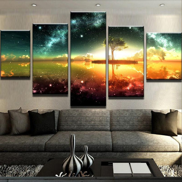 Sci-Fi Island Sunset - 5 Panel Canvas Art Set