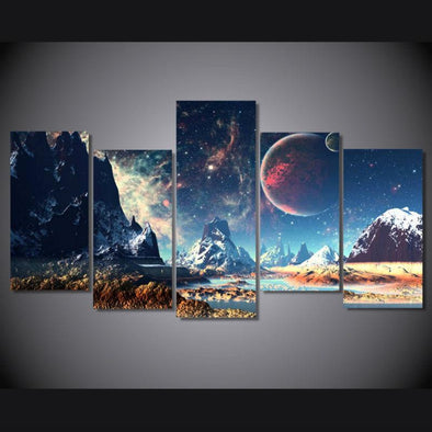 Science Fiction Landscape - 5 Panel Canvas Art Set