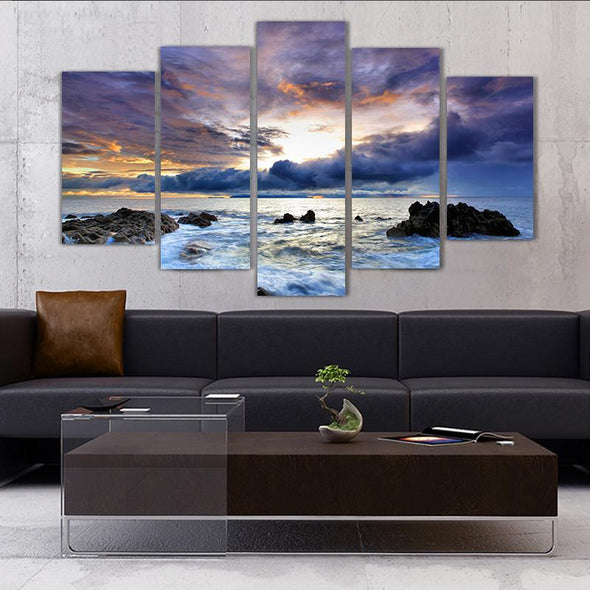Stormy Ocean Sunset - 5 Panel Canvas Art Set