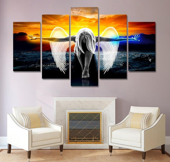 Sunset Angel - 5 Panel Canvas Art Set