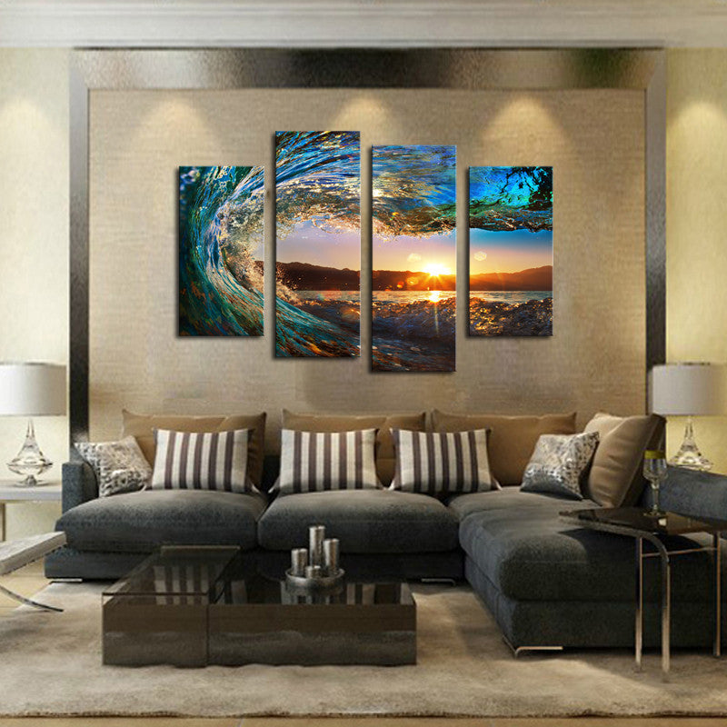 sunset ocean wave 4 panel canvas art set torsteinn home decor