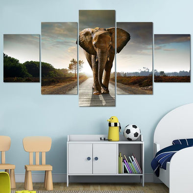 The Elephant In The Room - 5 Panel Canvas Art Set