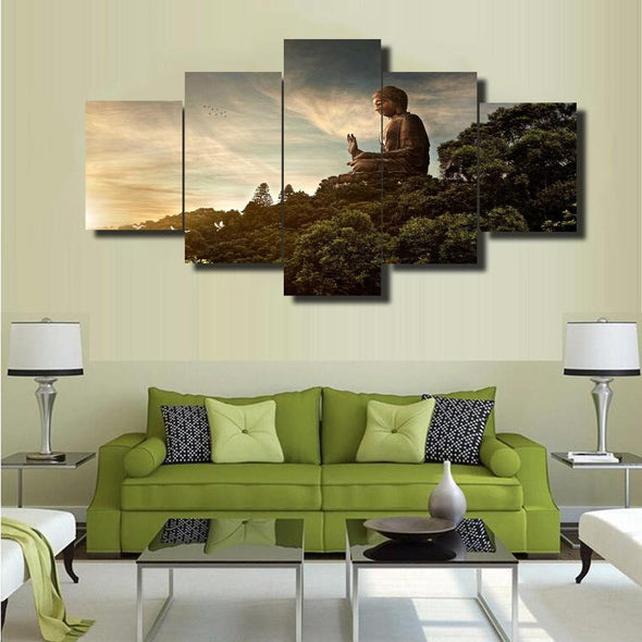 Tian Tan Buddha Statue - 5 Panel Canvas Art Set