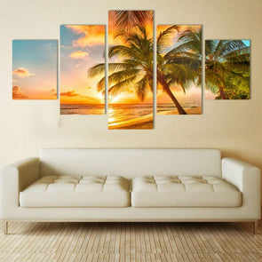Tropical Sunset - 5 Panel Canvas Art Set