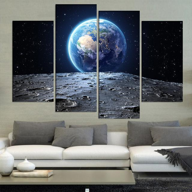 view from the moon 4 panel canvas art set torsteinn home decor