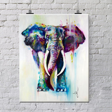 Watercolour Elephant Single Panel Canvas Art Print