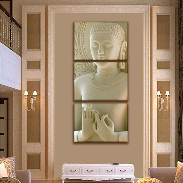 Wheel of Dharma Buddha - 3 Panel Canvas Art Set