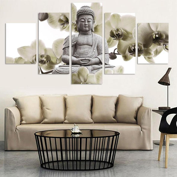 White Orchid Buddha - 5 Panel Canvas Art Set