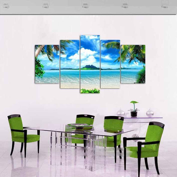 White Sand Beach - 5 Panel Canvas Art Set