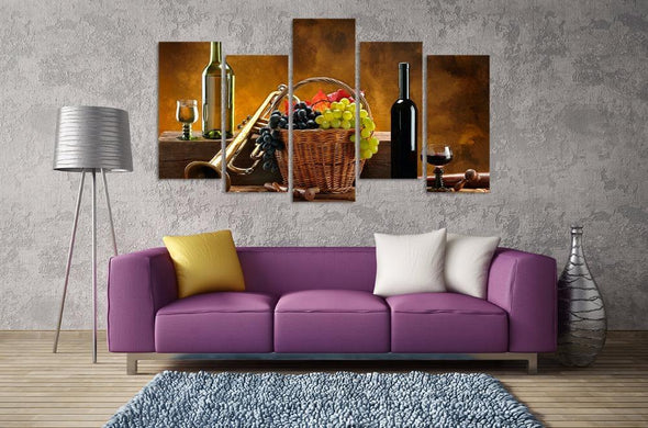 Wine and Grapes - 5 Panel Canvas Art Set