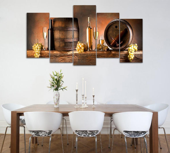 Wine Casks - 5 Panel Canvas Art Set