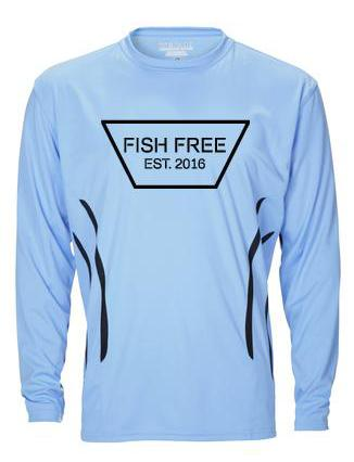 Fish Free Sport - Sky Blue Long Sleeve Performance Fishing Shirt With UV Protection
