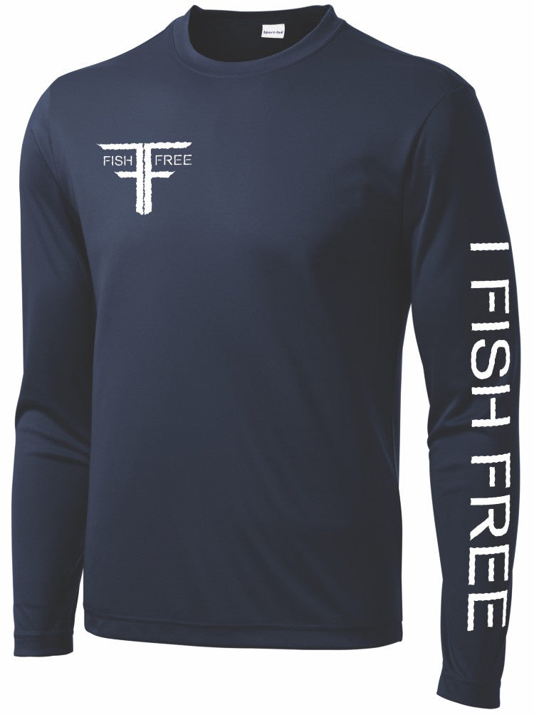 Fish Free Nitro - Navy Blue Long Sleeve Performance Fishing Shirt