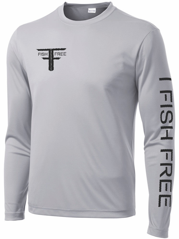 Fish Free Platinum - Gray Long Sleeve Performance Fishing Shirt