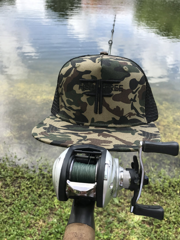 Fish Free Cobalt - Camo Trucker Fishing Hat