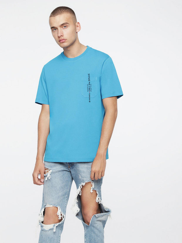 Mens T-Just-Pocket Azure Blue | Diesel Shop online at IKON