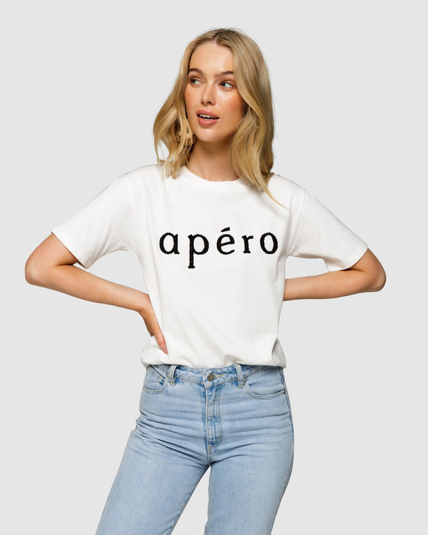 Apero Beaded Tee - Off White/Black | Shop Apero The Label at IKON NZ