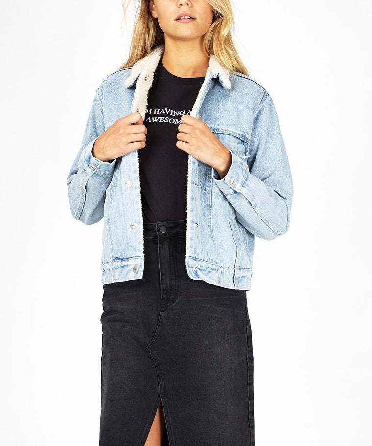 Womens Oversized Cali Denim Sherpa Jacket - Denim