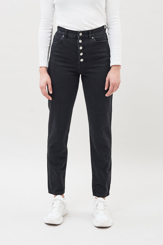 Dr Denim Nora Jean Retro Black Button Fly