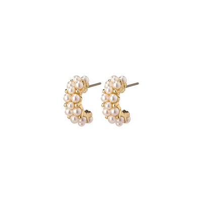Warmth Earrings - White/Gold Plated | Shop Pilgrim Jewellery, IKON NZ