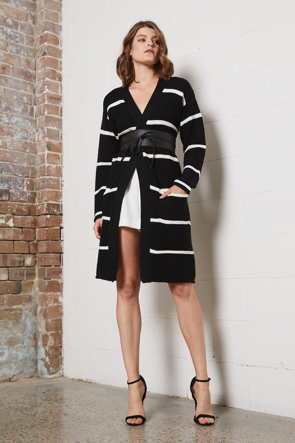 Shilla Delicate Stripe Cardigan - Black/White