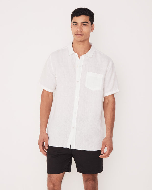 Mens Estate Linen SS Shirt - White