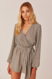 Longitude Check Playsuit Ivory/Black