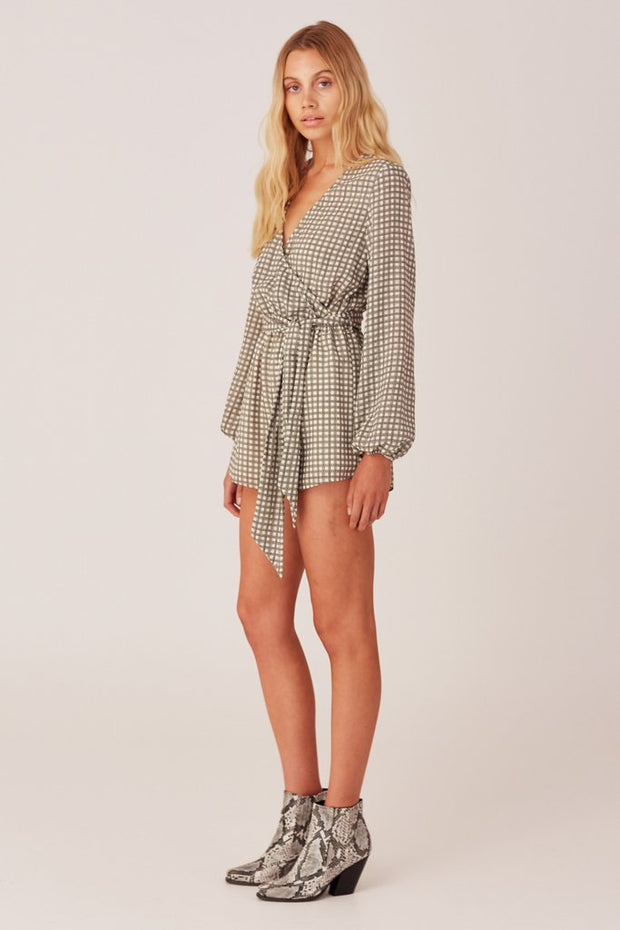 Longitude Check Playsuit - Ivory/Black