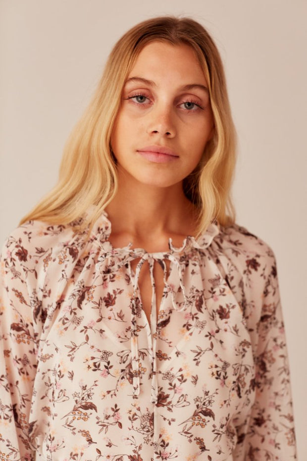 Memoir Long Sleeve Top Cream Floral