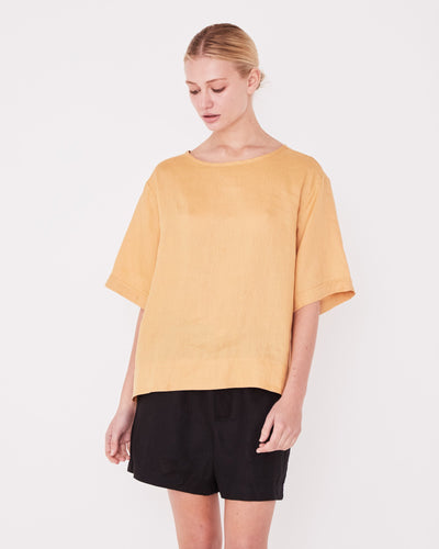 Boxy Linen Tee - Amber shop online or in store at IKON