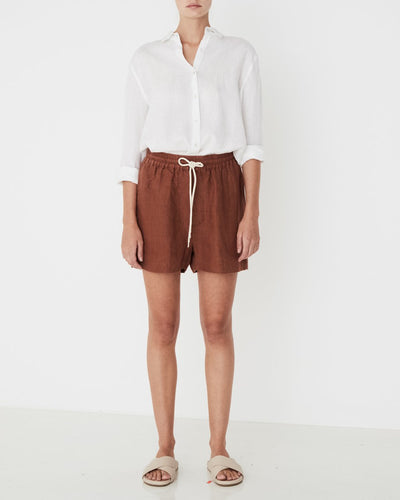 Ease Linen Short Terracotta