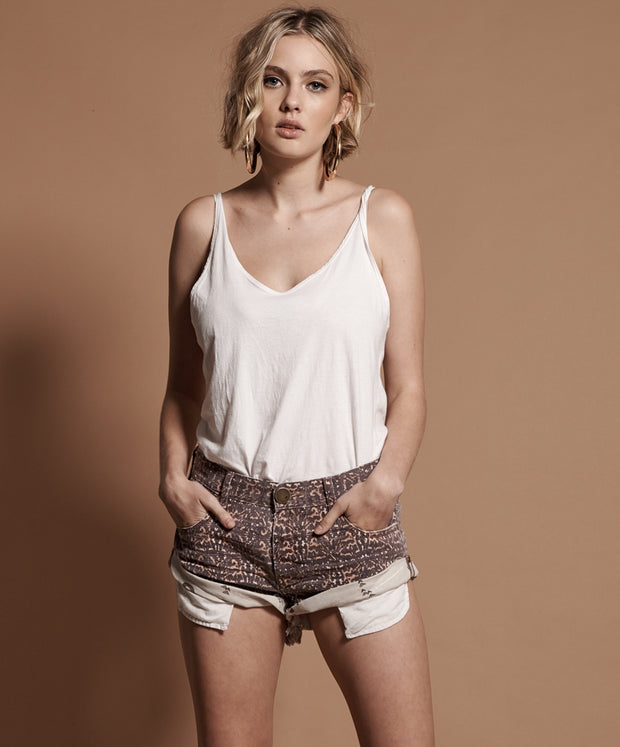 Azteca Leopard Bandit Denim Short | Shop OneTeaspoon at IKON in Arrowtown, NZ