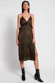 Long Slip Dress - Khaki Leopard | Shop OneTeaspoon at IKON NZ