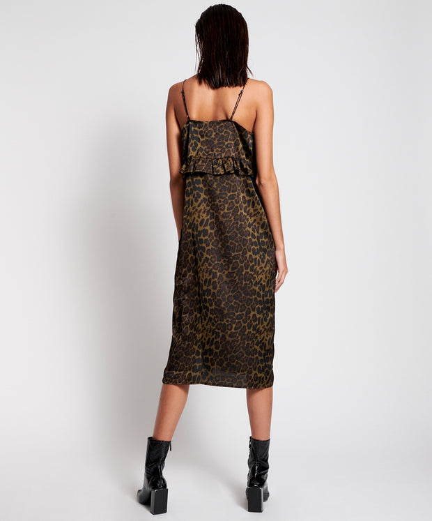 Long Slip Dress - Khaki Leopard