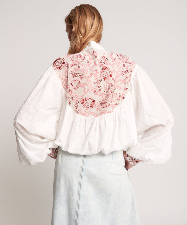 Embroidered Gypsy Top - White/Desert Floral