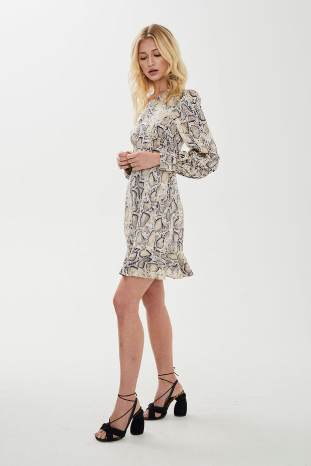 Fleur Mini Dress - Snake Print