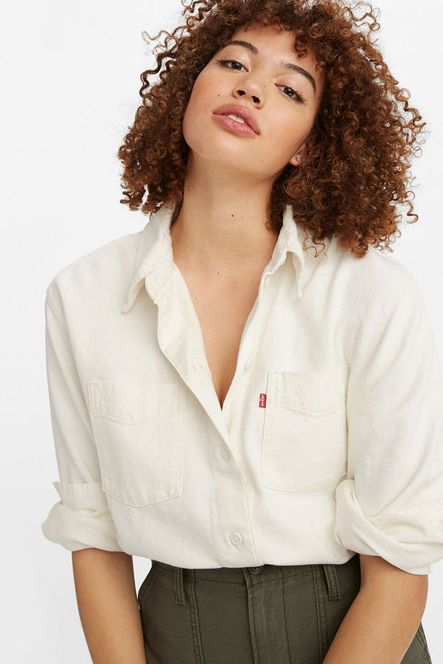 Zoey Pleat Utility Shirt - Ecru | Shop Levis at IKON NZ