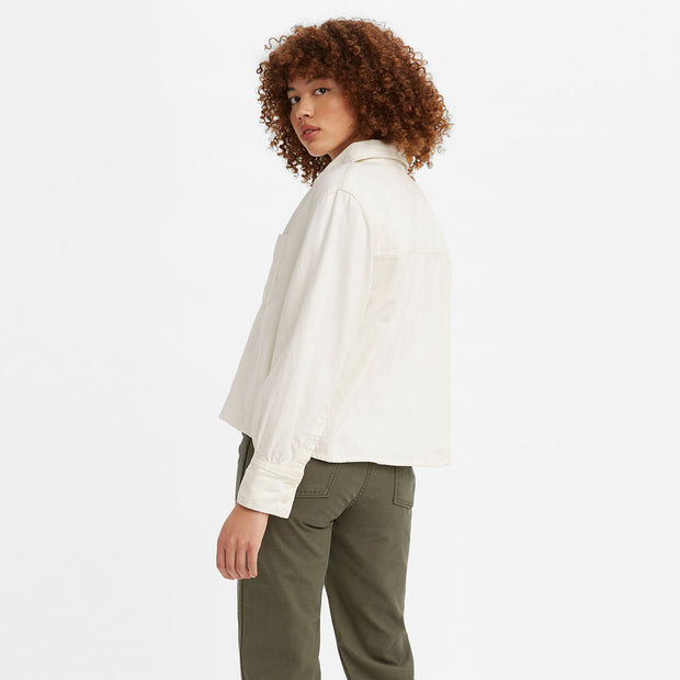 Zoey Pleat Utility Shirt - Ecru