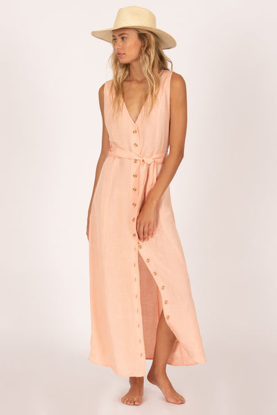 Driftwood Sleeveless Woven Dress - Peach