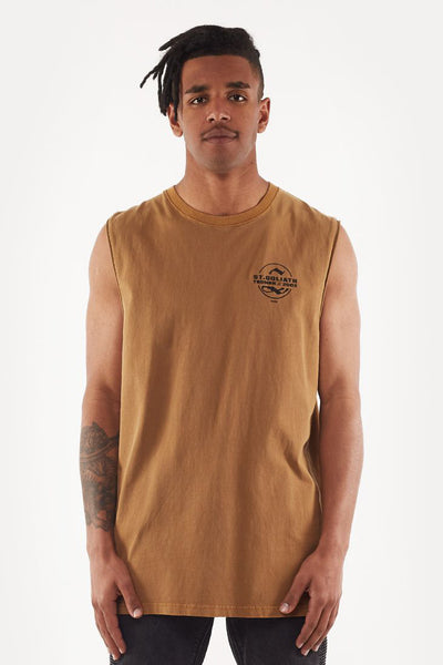 Split Muscle Tank - Tan | Shop St Goliath Clothing at ikonnz.com NZ