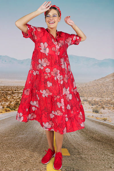 Cooper Play By Tier Dress - Red Pink Floral | Shop Cooper at IKON