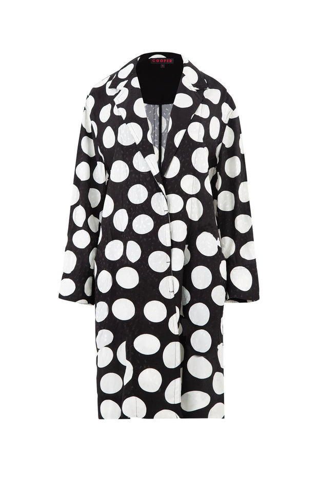 Cooper Duster Rhymes Coat - Black/Whte Spot