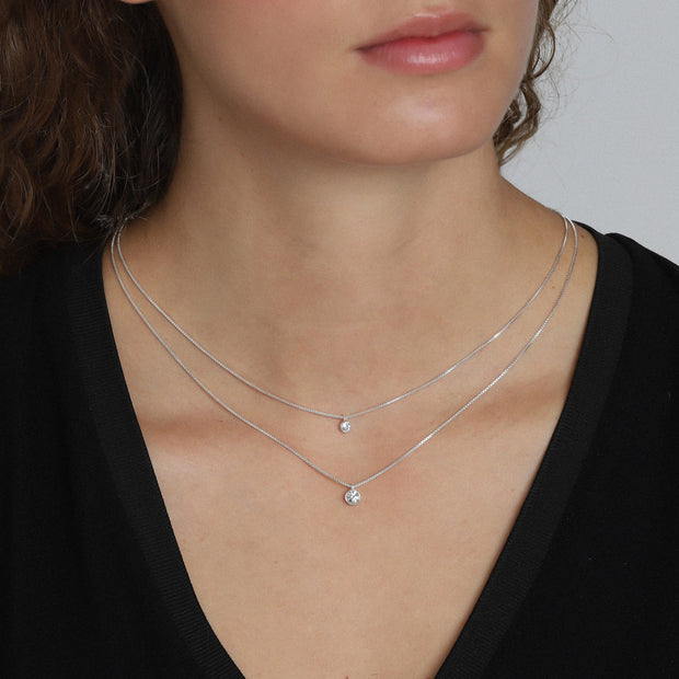 Lucia Pi Necklace - Double/Silver Plated