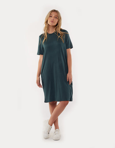 Womens Gravity Tee Dress - Bottle Green
