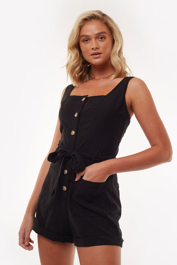 Utility Playsuit - Black | Shop All About Eve at IKON NZ