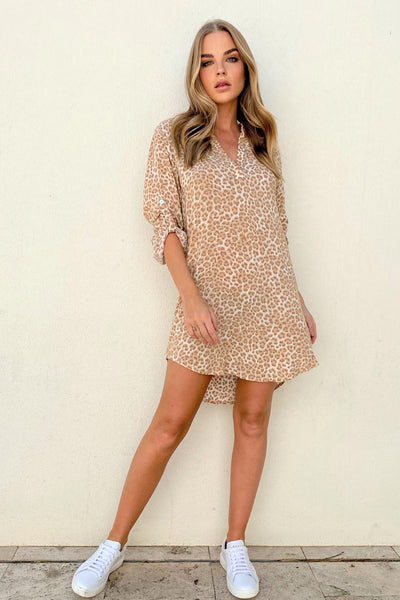 Beach Shirt Dress - Tan Leopard | Shop Cartel & Willow at IKON NZ