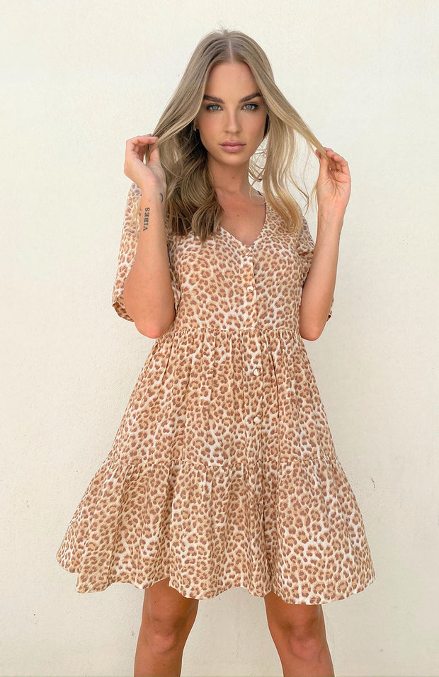Selena Dress - Tan Leopard