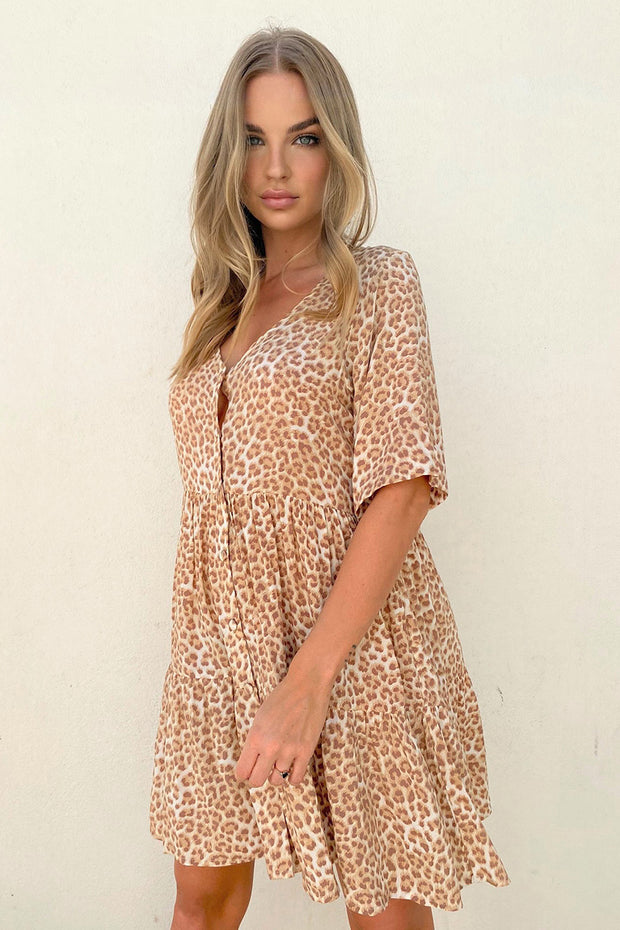 Selena Dress - Tan Leopard | Shop Cartel & Willow at IKON NZ
