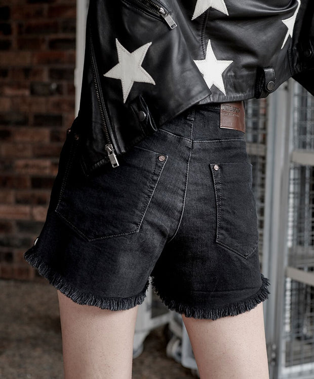 Bonita High Waist Denim Shorts - Worn Raven